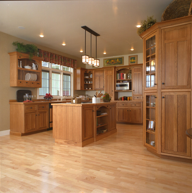 Craftsman Style Kitchen Hickory Wood Cabinets