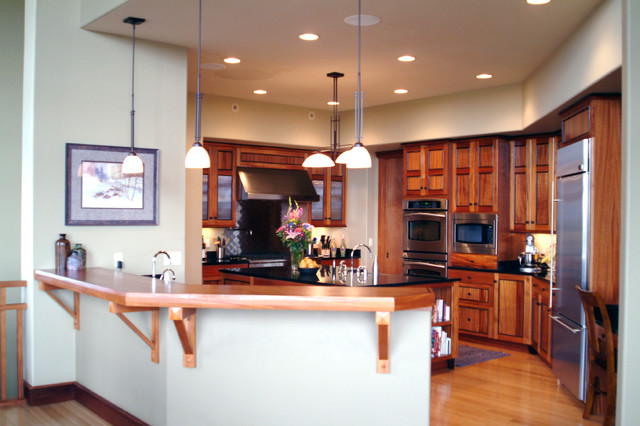 Craftsman Style Kitchen with African Mahogany Cabinets - Craftsman ...