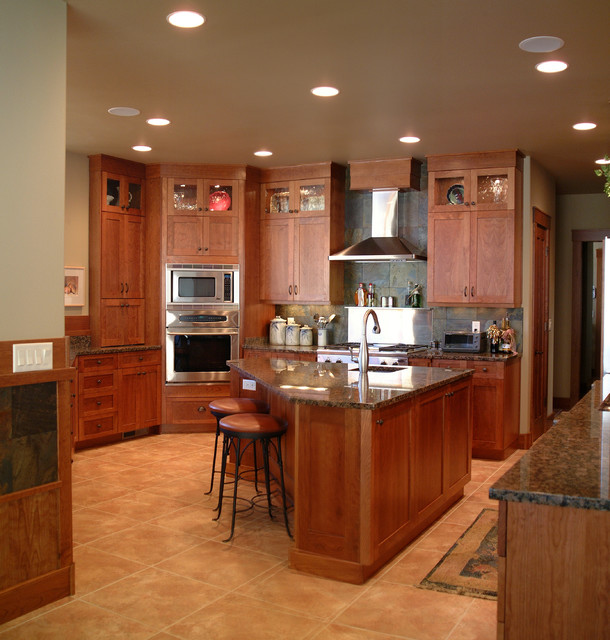 Craftsman Style Kitchen With Cherry Cabinets Traditional