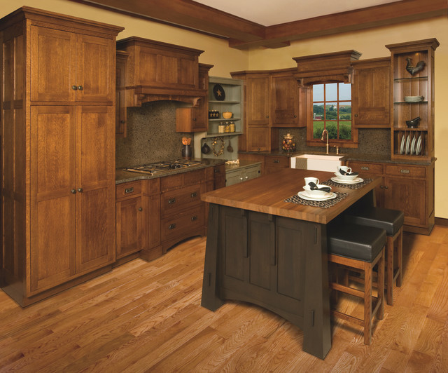 Mission Style White Oak Kitchen Display Craftsman Kitchen