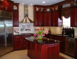 Black cherry for Burgundy kitchen cabinets