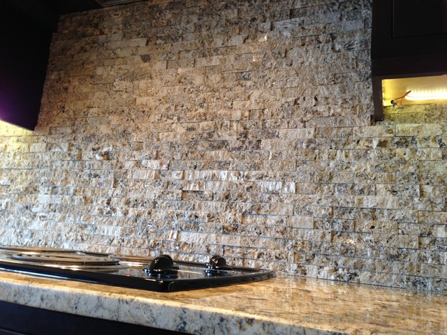 Crazy Horse Granite With Granite Tile Backsplash Rustic