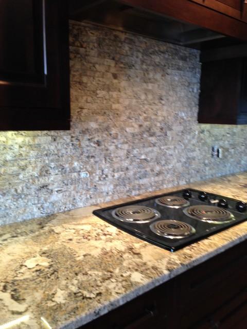 Crazy Horse Granite With Granite Tile Backsplash