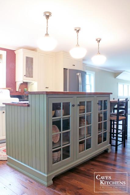 Cream Farmhouse Kitchen with Green Island & Paneled Dishwasher