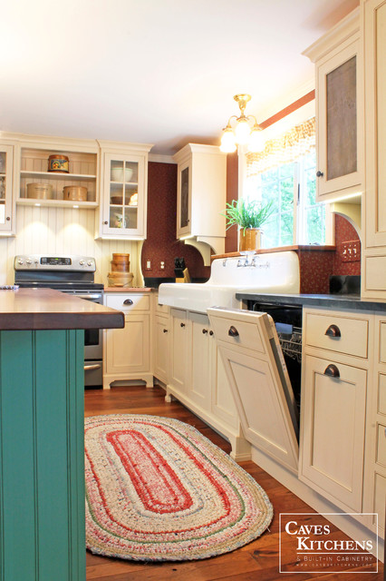Cream Farmhouse Kitchen with Green Island & Paneled Dishwasher - Farmhouse - Kitchen - other ...