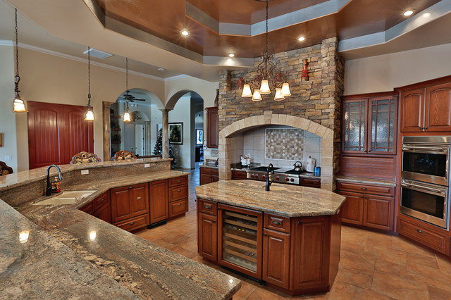 Lovely Crema Bordeaux Granite Counter Tops Traditional Kitchen
