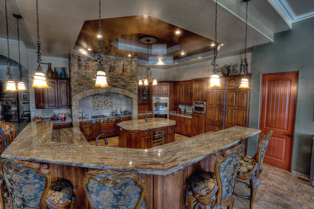 Superb Crema Bordeaux Granite Counter Tops Traditional Kitchen
