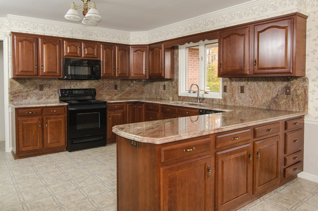 Crema Bordeaux Granite With Full Backsplash Traditional Kitchen