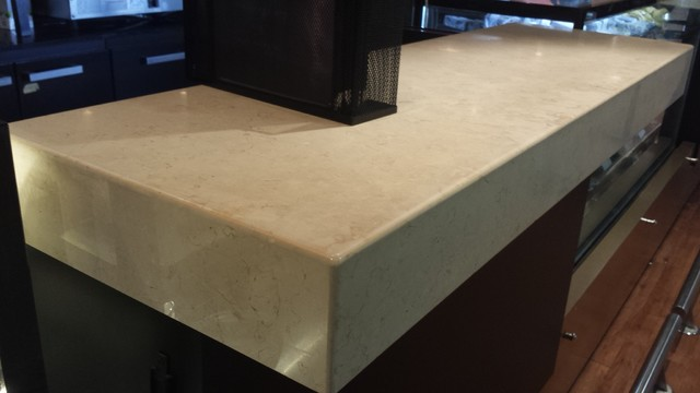 Crema Marfil Marble Countertops With A 120mm Front Fascia  Contemporary Kitchen