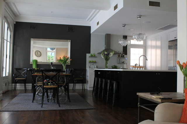 Cremorne Point Black and White Kitchen - contemporary - kitchen ...