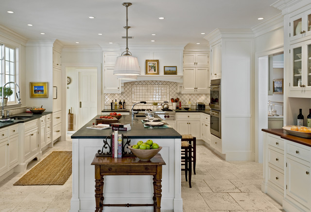 Example Of A Country Enclosed Kitchen Design In New York With Soapstone  Countertops, Recessed