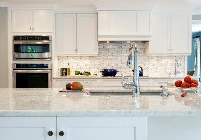 Crystal White Quartz Transitional Kitchen Bridgeport By