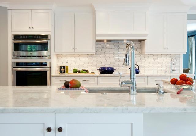 Crystal White Quartz Transitional Kitchen