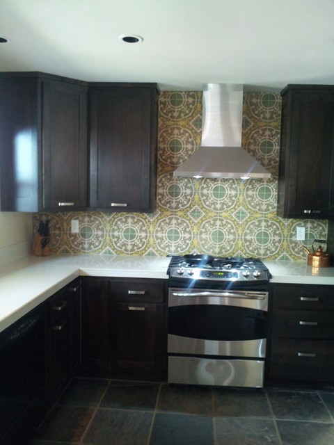 Cuban tiles make an eye catching backsplash modern for Cement tiles for kitchen