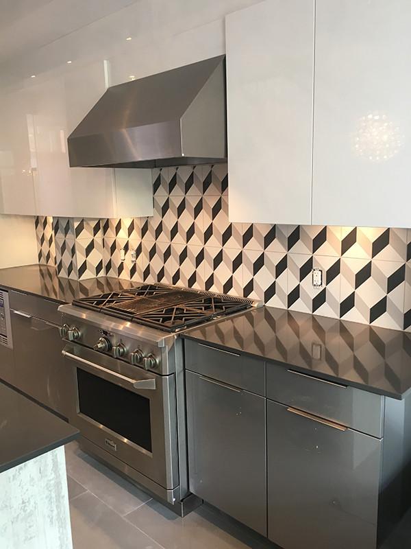 Cube Tile Kitchen Backsplash Modern Kitchen Ottawa By Coco