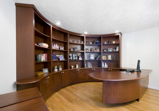 Curved wall bookshelf and desk contemporary-kitchen