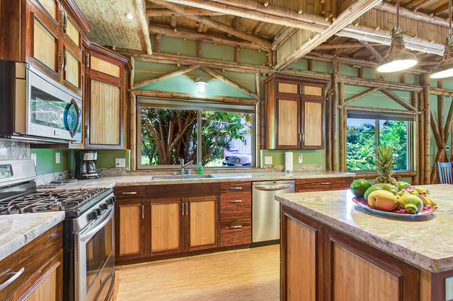 Custom 2 Story Signature Bali On The Big Island Tropical Kitchen By Bamboo Living Homes
