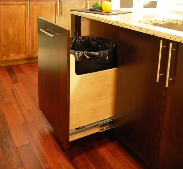 Superbe Custom 30 Gallon Trash Can Pull Out Contemporary Kitchen