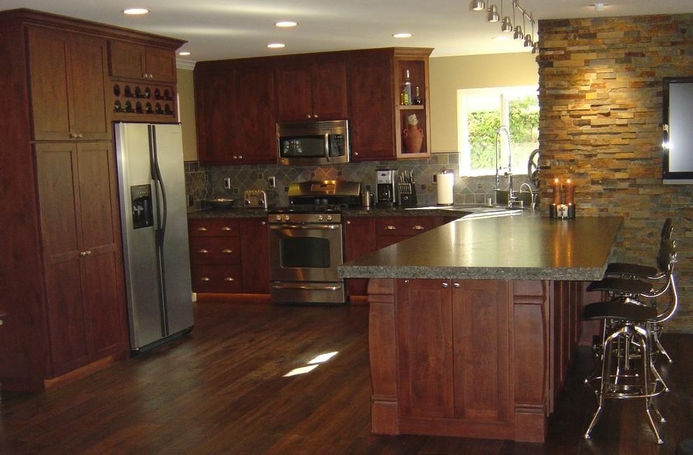 Custom Alder Kitchen - Mediterranean - Kitchen - Orange ...