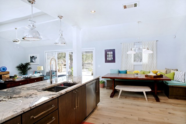 Custom Alder Kitchen with Metal Doors, Custom Bench Seat contemporary-kitchen