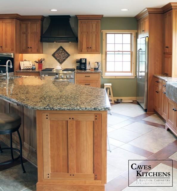 Custom Arts & Crafts Kitchen with Two Tiered Island craftsman-kitchen