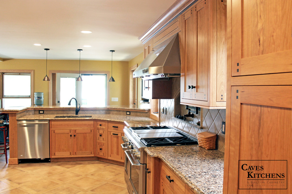 Custom Arts & Crafts Kitchen with Two Tiered Peninsula ...