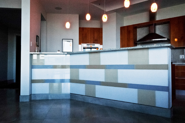 custom backpainted glass tile eclectic kitchen