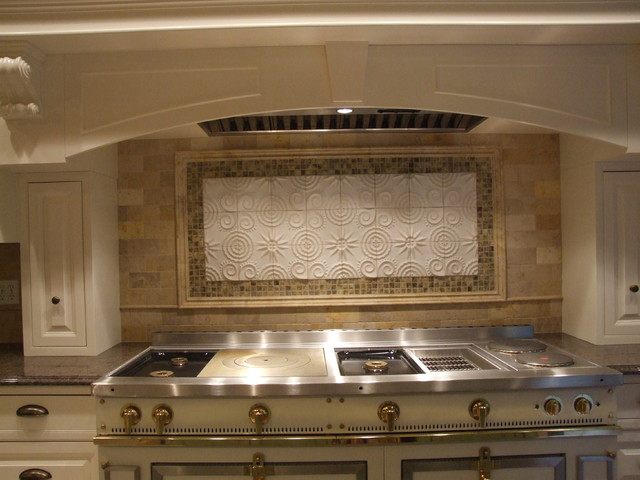 Custom Backsplash Over French La Cornue Range Westfield Nj Traditional Kitchen New York