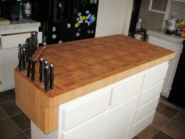 Custom Built-In Knife block on Butcher Block Work Island - Eclectic - Kitchen - austin - by ...