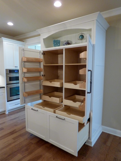 Custom Built In Pantry With Rollout Shelves