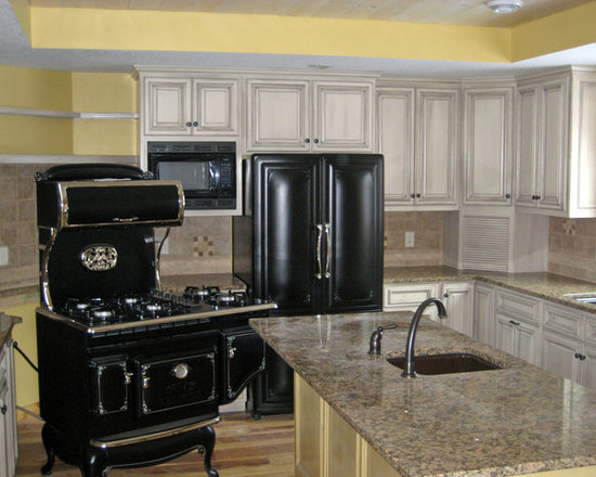 Kitchen Pantry Design Photos with Beige Backsplash and Distressed