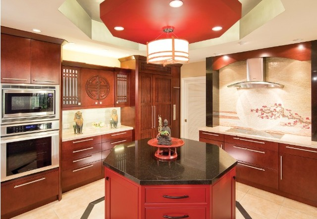 Custom cherry blossom stone mosaic francois co for Asian inspired kitchen cabinets