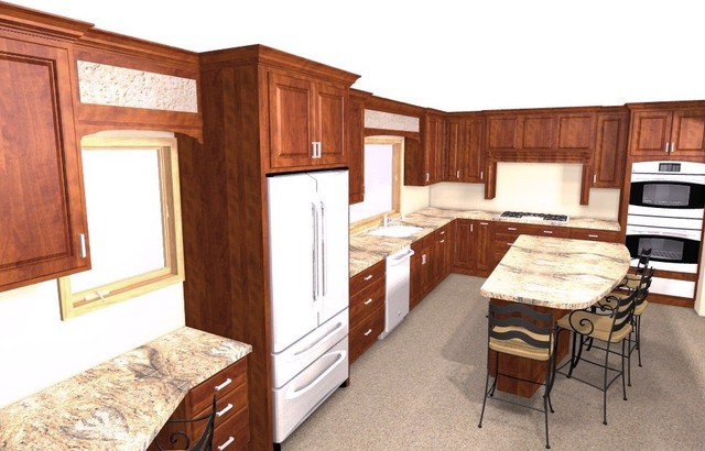 Custom cherry cabinets / Juparana Bordeaux granite - Traditional - Kitchen - minneapolis - by ...