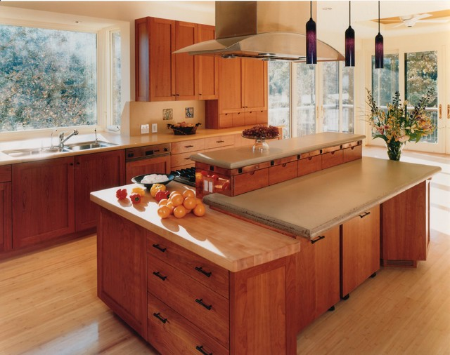 Custom Cherry Wood Cabinets  kitchen