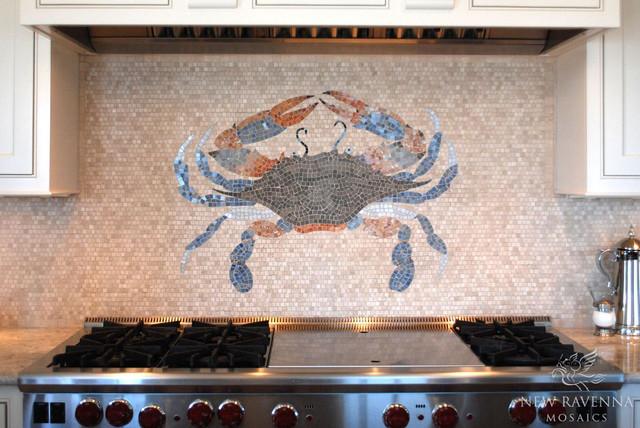 Custom Crab Stone Mosaic contemporary-kitchen