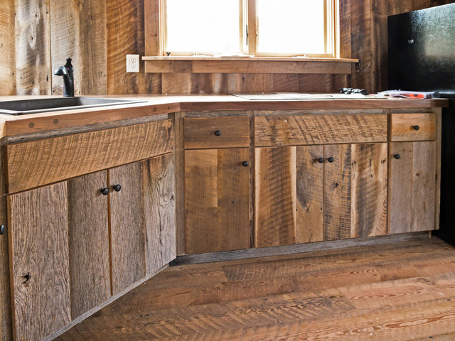 Custom crafted barn wood cabinets traditional kitchen for Barn style kitchen cabinets