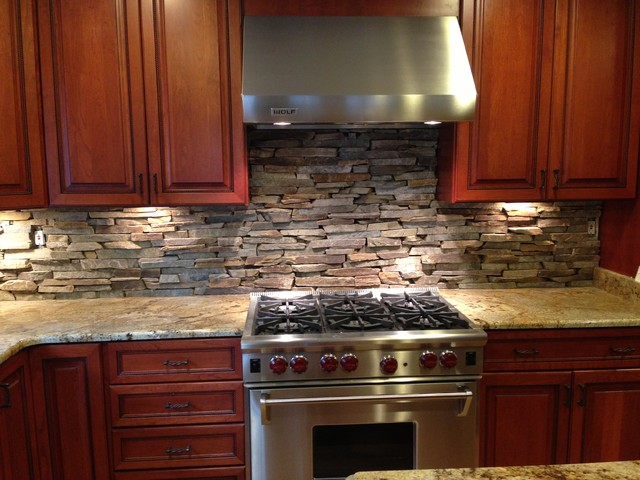 Custom Cut Stone Backsplash In Bethesda MD Eclectic Kitchen