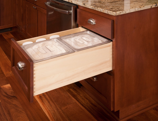Custom Drawer For Baking Supplies In A Country Kitchen