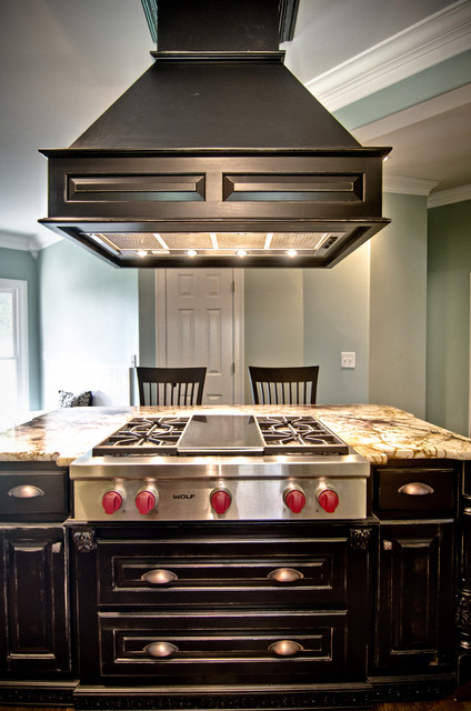 custom drop down wood vent hood kitchen by kirkland