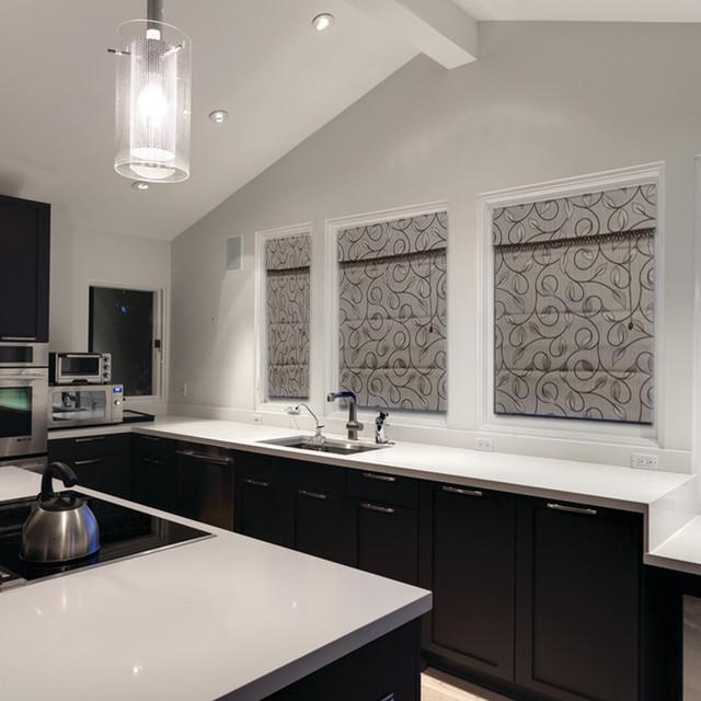 Custom Fabric Roman Shades Roman Blinds Volari Roman Shades Modern Kitchen Denver By Windows Dressed Up Houzz
