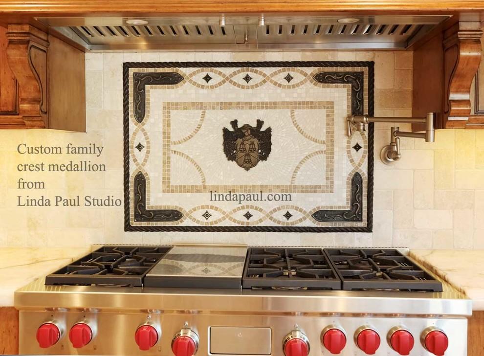Custom Family Crest Kitchen Backsplash Mosaic Tile Medallion Industrial Kitchen Denver By Linda Paul Studio