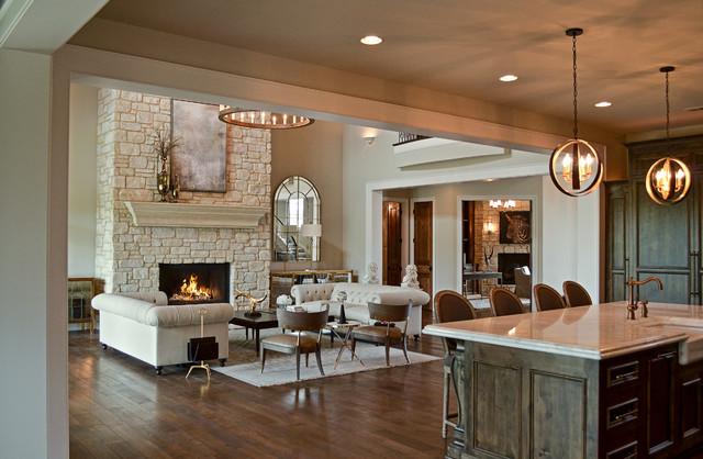 Custom Fireplace featuring Fireplace featuring Weston Cream Natural Stone Veneer - Contemporary ...