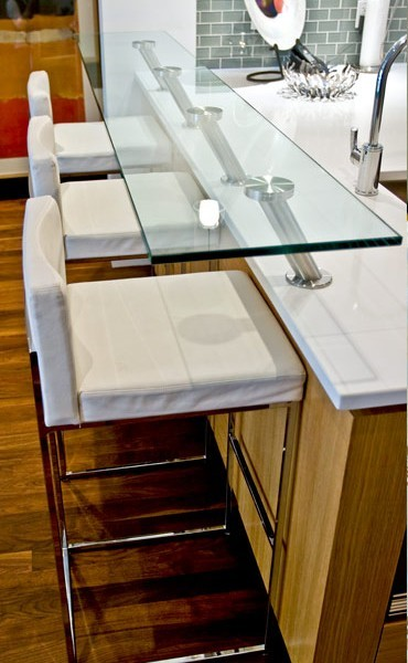 Custom Glass top Breakfast Bar - Modern - Kitchen - Calgary - by ...