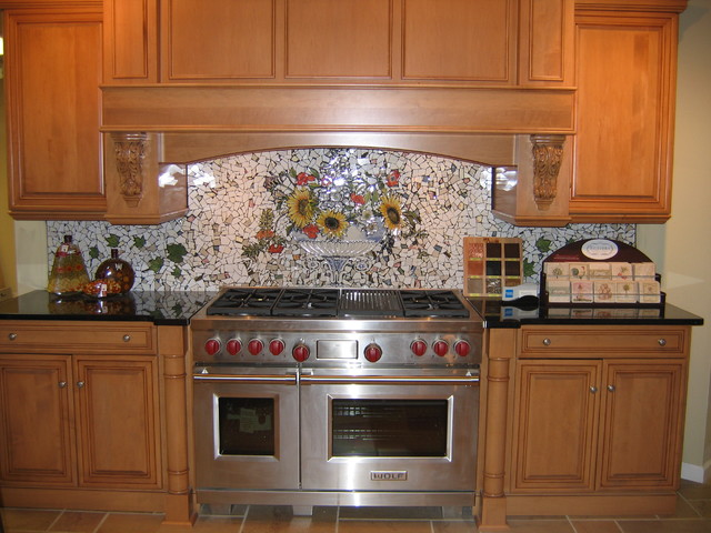 custom hand painted mosaic backsplash traditional