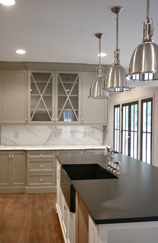 Inspiration for a contemporary kitchen remodel in Atlanta with a farmhouse sink, marble countertops and marble backsplash