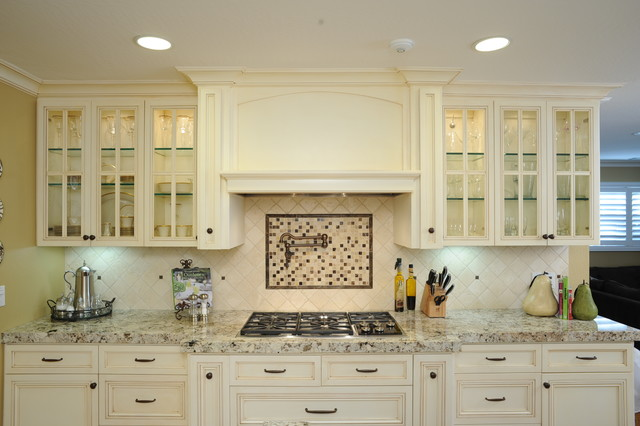 Custom hood and glass-front cabinets - Traditional - Kitchen - San ...