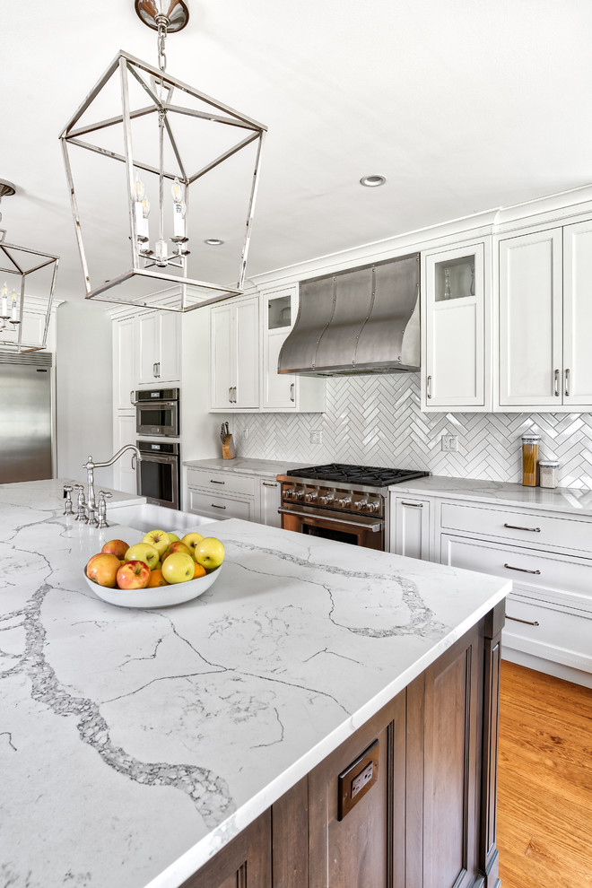 Custom Hood and White Herringbone Backsplash - Traditional ...