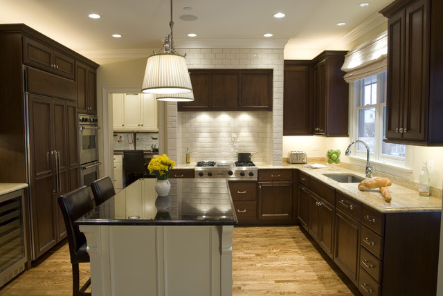 Example Of A Classic U Shaped Kitchen Design In Chicago With Subway Tile  Backsplash,