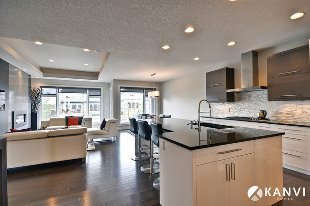 Custom Houses Contemporary Kitchen Edmonton By Kanvi Homes