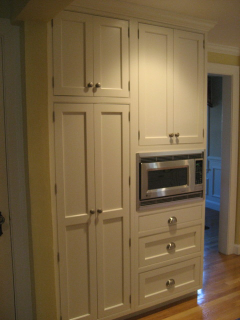 Nice Pantry And Microwave Traditional Kitchen